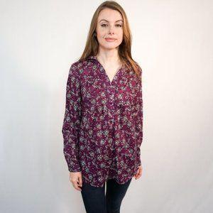 ANTILIA FEMME Purple Floral Print Button Blouse